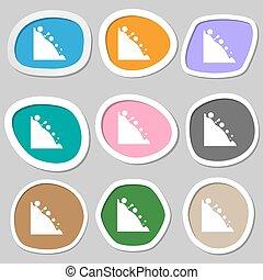 Rockfall icon. Multicolored paper stickers. Vector