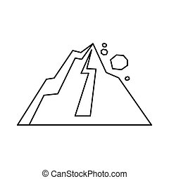 Rockfall icon, outline style