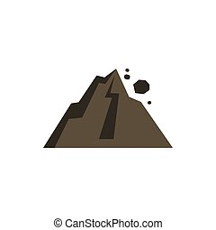 Rockfall in mountains icon, flat style