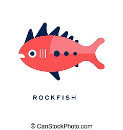 Rockfish, sea fish geometric flat style design vector Illustration