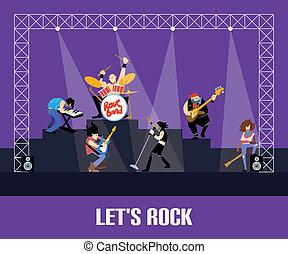 rockgruppe, musik, gruppe, concert, raster, abbildung