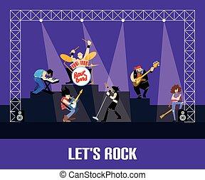 rockgruppe, musik, gruppe, concert, vektor, abbildung