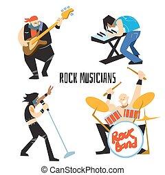 rockgruppe, musik, gruppe, mit, musiker