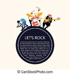 rockgruppe, musik, gruppe, raster, abbildung