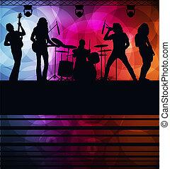 rockgruppe, vektor, hintergrund