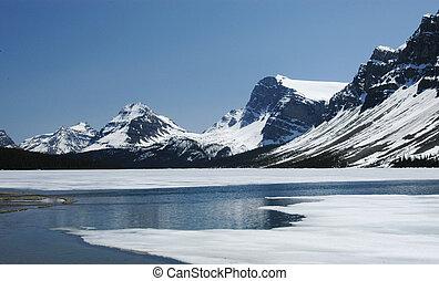rockies, hielo, lago