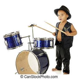rockin', baterista, menino