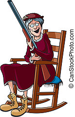 Rockin' Granny - Cartoon of an elderly woman in a rocking...
