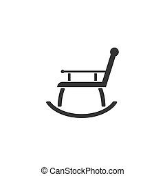 Rocking chair icon flat - Rocking chair. Black Icon Flat on...