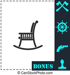 Rocking chair icon flat. Simple vector symbol and bonus icon