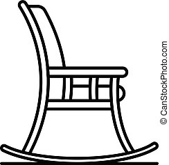 Rocking chair icon, outline style - Rocking chair icon....