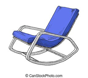 Rocking chair isolated on white background. Sketch a...