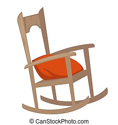 Rocking chair of wood with pillow on seat furniture with...