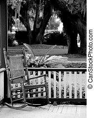 Rocking chair on front porch