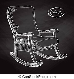 Rocking chair. Sketch a comfortable chair. Vector...