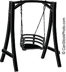 rocking-chair, vecteur, -