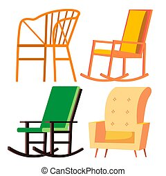 Rocking Chair Vector. Retro Furniture. Comfortable Home Wooden Chair. Isolated Cartoon Illustration