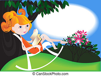 Rocking chair - Young red-haired girl is sitting with a book...