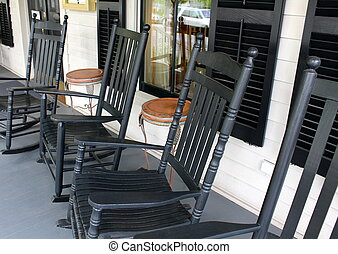 Rocking chairs on old porch