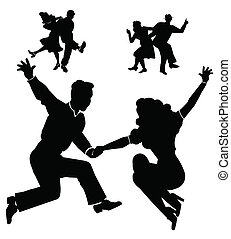 dancers from fifties era dancing swing and other lively dances in silhouette