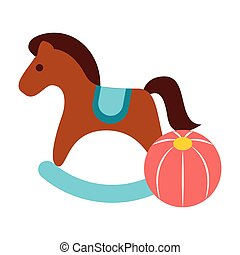 rocking horse and plastic ball toys vector illustration