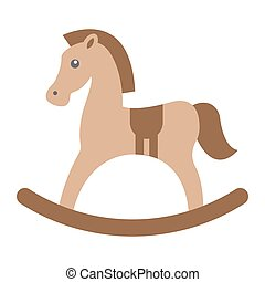 Rocking horse flat icon, wooden toy