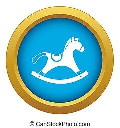 Rocking horse icon blue isolated