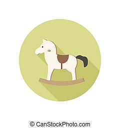 Rocking horse icon. - Horse toy vector icon. White rocking...