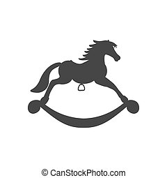 Rocking Horse Icon silhouette on the white background....