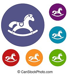 Rocking horse icons set in flat circle reb, blue and green...