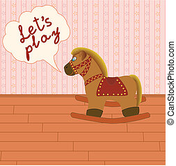 Rocking horse in the room with speech bubble