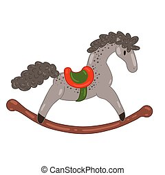 Rocking horse isolated on a white background. Vector graphics