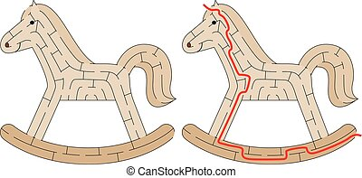 Rocking horse maze - Easy rocking horse maze for kids with a...