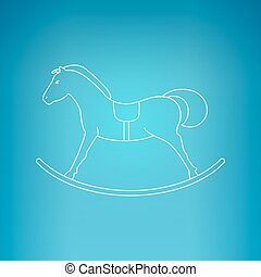 Rocking Horse on a Blue Background