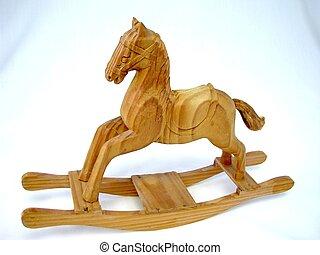 Ornamental wooden rocking horse.