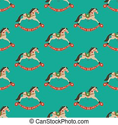 Rocking horse pattern on the green background. Vector...