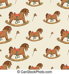 Rocking horse seamless pattern. Childhood background...