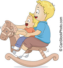 Illustration of Male Siblings Sitting on a Rocking Horse