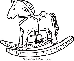Doodle style child's rocking horse toy sketch in vector format `