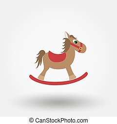 Rocking horse toy. Flat icon.