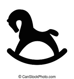Rocking horse vector - Vector illustration toy silhouette...