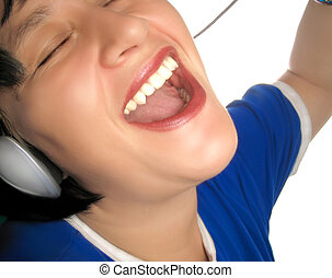 rocking out - woman listens to tunes