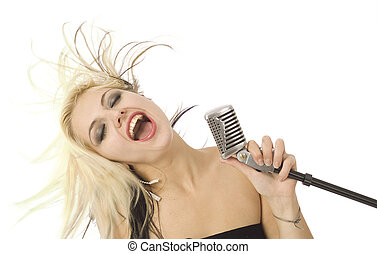 Rocking singer and microphone - Rocking singer with wild...