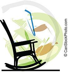 rocking, vektor, chair., illustration