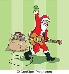 Rockin%u2019 Santa - Santa Claus plays an electric guitar.