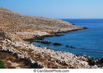 Rockly coastline, Halki