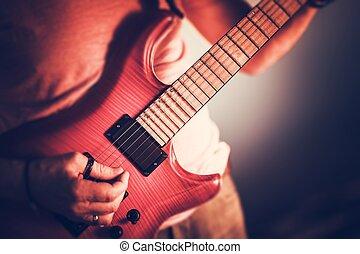 rockman, guitarrista, closeup