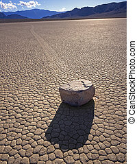 Rockmotion - A rock and its trail on the Racetrack Playa in...