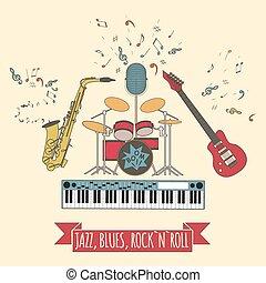 rock`n`roll, blues, faixa, jazz