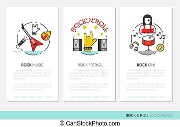 Rock'n'roll Business Brochure Template with Linear Thin Line Vector Icons